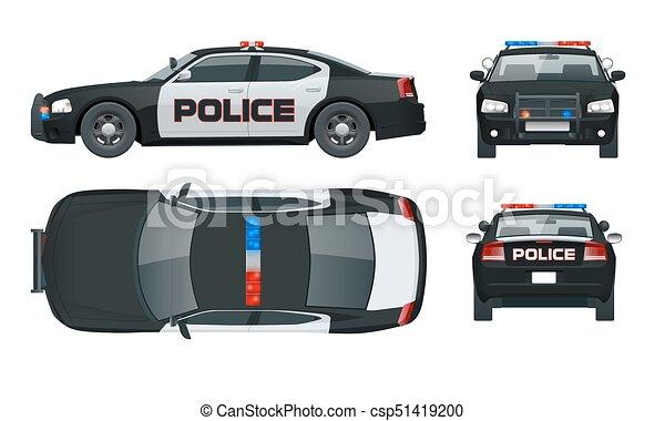 Click c t emblems police illustration arri re couleur isol e sir ne lumi res une - Voiture vue de haut ...