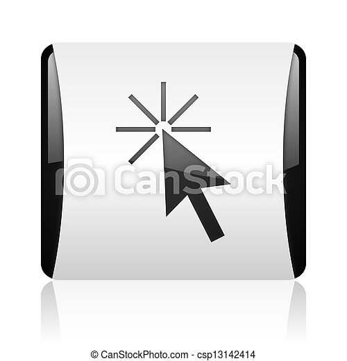 click here black and white square web glossy icon - csp13142414