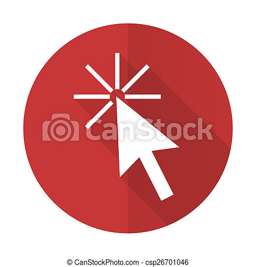 click here red flat icon - csp26701046