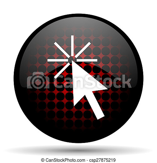 click here red glossy web icon - csp27875219