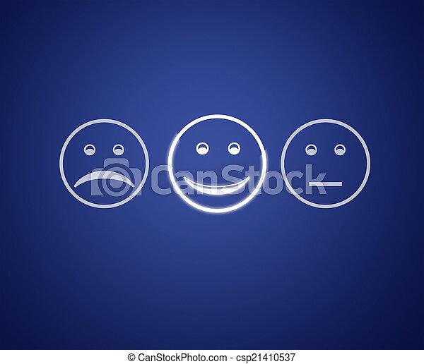 client, emoticons, service, écran, form., évaluation - csp21410537