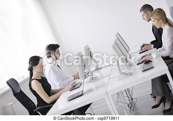 client, groupe, bureau fonctionnant, affaires gens, bureau, aide - csp9719911