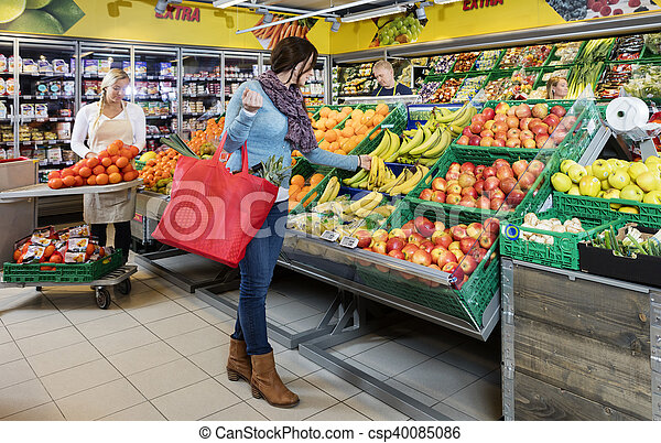 client, magasin, épicerie, bananes, frais, achat - csp40085086