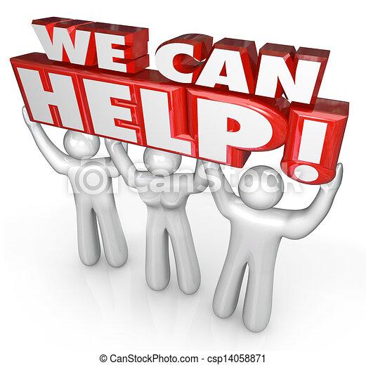 client, nous, aide, service, soutien, assistants, boîte - csp14058871