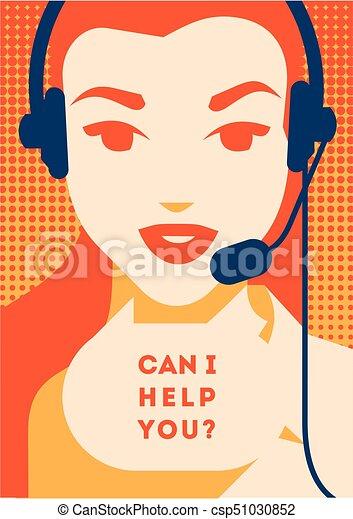 Llama al operador central con afiche. Servicios de clientes y comunicación, apoyo al cliente, asistencia telefónica. - csp51030852