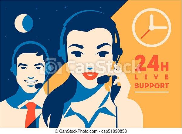 Llama al operador central con afiche. Servicios de clientes y comunicación, apoyo al cliente, asistencia telefónica. - csp51030853