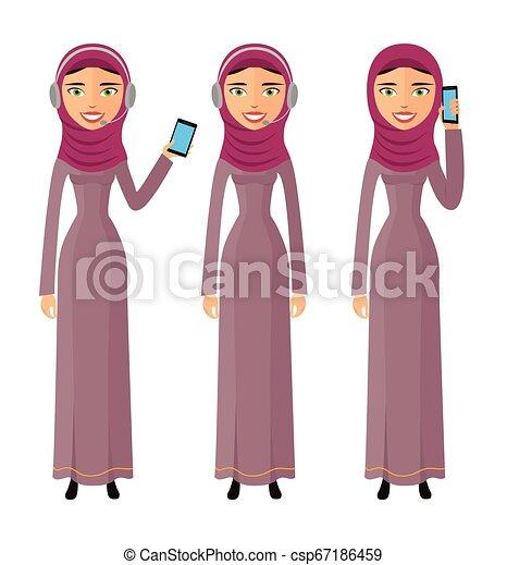 Operadora del centro de llamadas femeninas con el diseño de la web de cascos de diseño de comunicación de los clientes de ayuda telefónica ilustración vectorial - csp67186459
