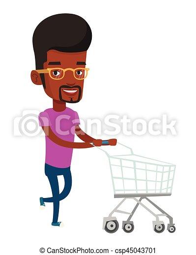Cliente corriendo con carrito de supermercado. - csp45043701