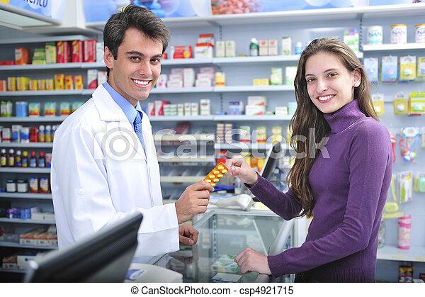 cliente, farmacéutico, farmacia - csp4921715