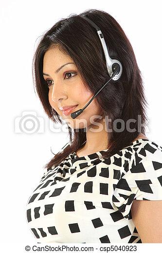 cliente, headset, apoio, menina - csp5040923