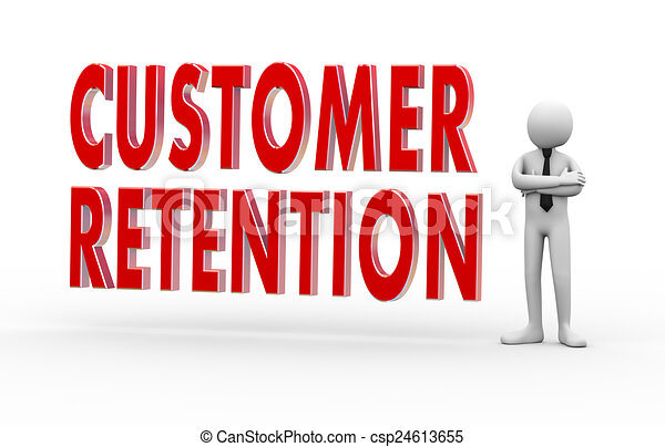 cliente, homem negócios, 3d, retenção - csp24613655