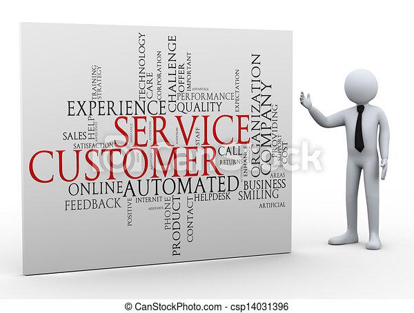 cliente, homem negócios, wordcloud, serviço, 3d - csp14031396