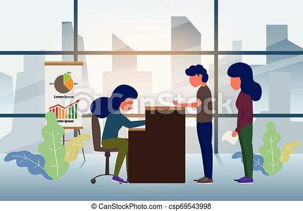 Cliente en recepción. Servicio de recepción o concepto de la oficina de negocios de contra-servicio en estilo plano. Ilustración de vectores. - csp69543998