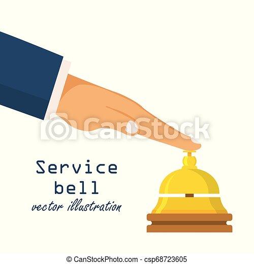 El concepto de campana de servicio. El cliente de recepción presiona el botón de llamada. Hotel Bell. Ilustración de vectores en diseño plano. - csp68723605
