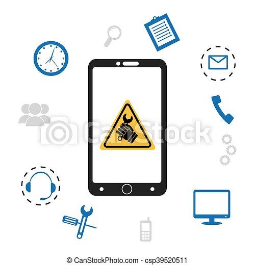 cbf7c2b7613 Cliente, técnico, set., servicio, icono. Cliente, teléfono celular ...