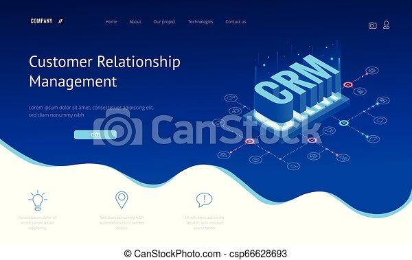 Estandarte web de CRM isométrico. El concepto de gestión de relaciones de clientes. Ilustración de vectores de internet de negocios - csp66628693
