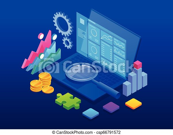 Estandarte web de CRM isométrico. El concepto de gestión de relaciones de clientes. Ilustración de vectores de internet de negocios - csp66791572
