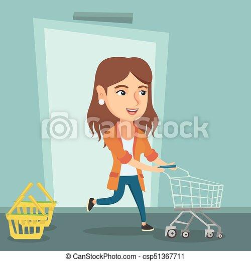 Cliente corriendo en la tienda con tranvía. - csp51367711