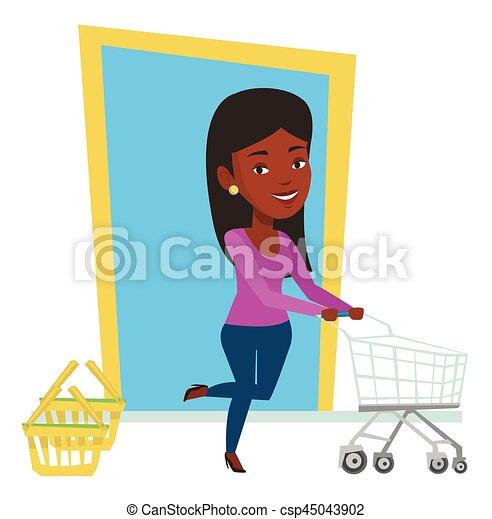 Cliente corriendo en la tienda con tranvía. - csp45043902