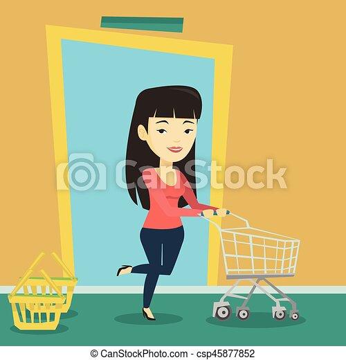 Cliente corriendo en la tienda con tranvía. - csp45877852