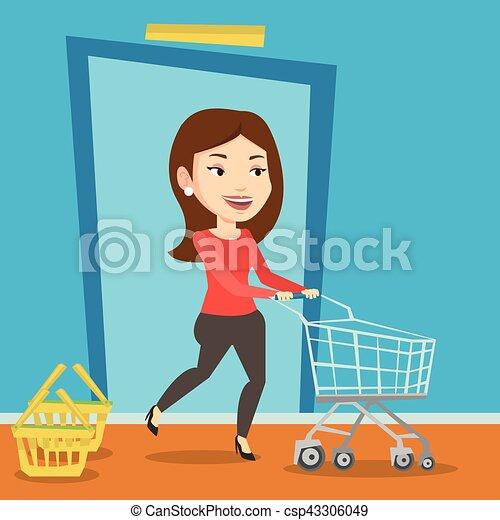 Cliente corriendo en la tienda con tranvía. - csp43306049