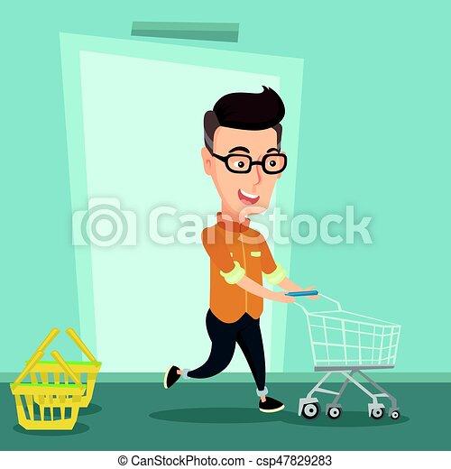 Cliente masculino corriendo en la tienda con tranvía. - csp47829283