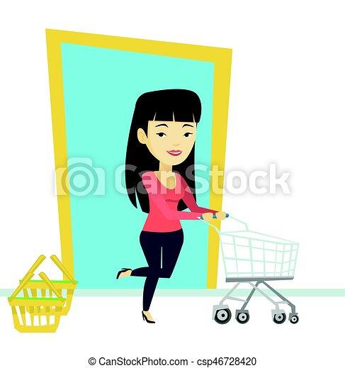 Cliente corriendo en la tienda con tranvía. - csp46728420