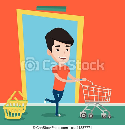 Cliente masculino corriendo en la tienda con tranvía. - csp41387771