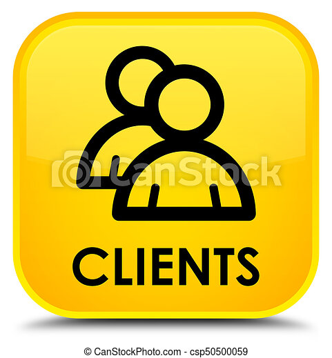 Clients (group icon) special yellow square button - csp50500059