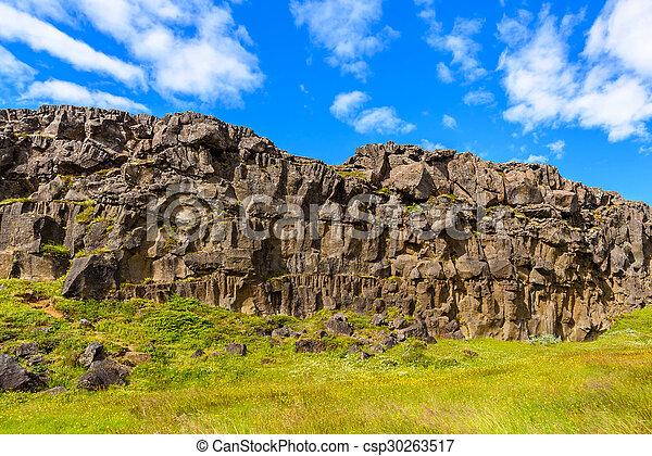 Cliff of lava rock, Thingvellir National Park, Iceland - csp30263517