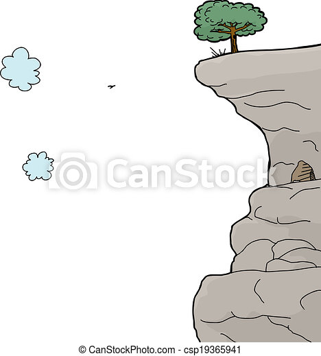 Cliff Over White Background - csp19365941