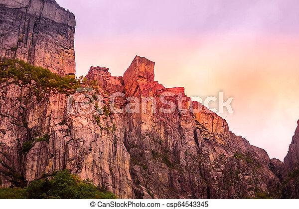 Cliff Preikestolen in fjord Lysefjord, Norway - csp64543345