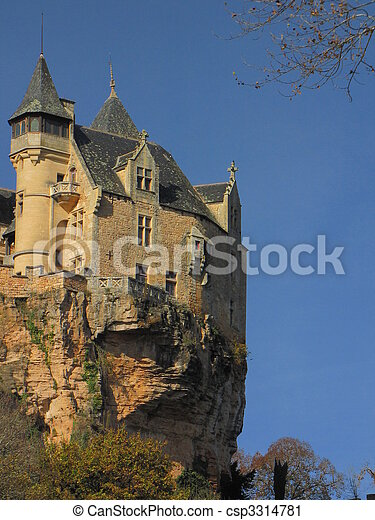 Cliff, rock, Castle, Montfort , fortification, rampart, - csp3314781