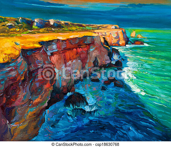 Cliffs and ocean - csp18630768