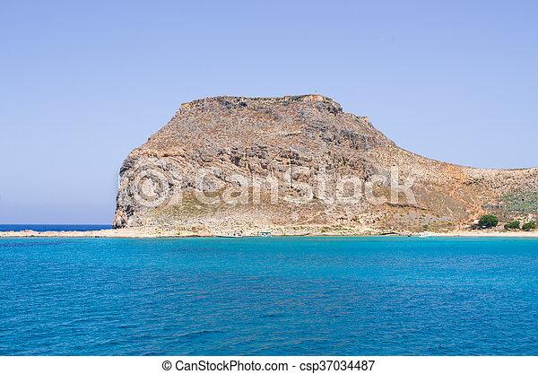 Cliffs near famous Balos beach, Crete, Greece - csp37034487