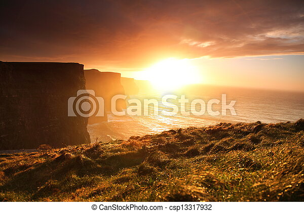 Cliffs of Moher at sunset in Co. Clare, Ireland - csp13317932