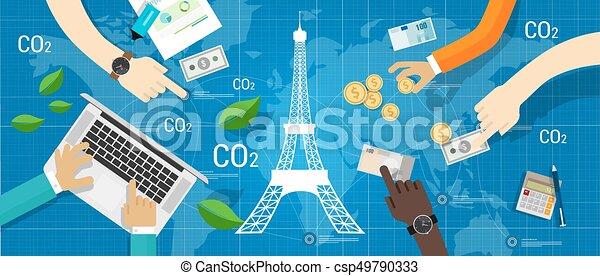 clima, parís, global, acuerdo, acuerdo, reducción, emisión, carbón - csp49790333