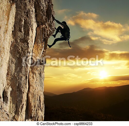 Climber on sunset - csp9864233