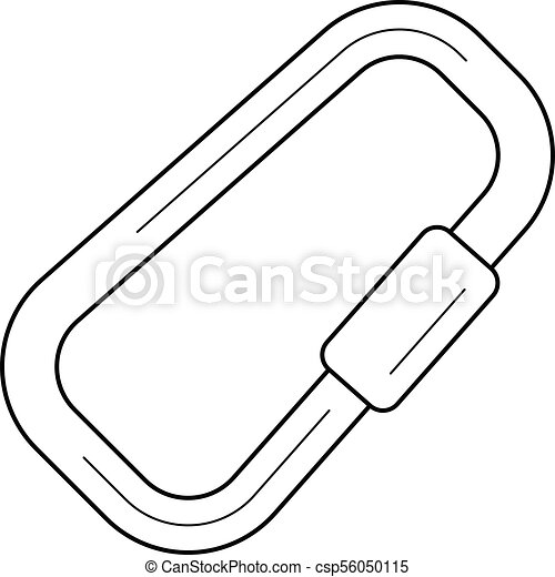 Climbing Carabiner Line Icon Climbing Carabiner Vector Line Icon Isolated On White Background Climbing Carabiner Line Icon