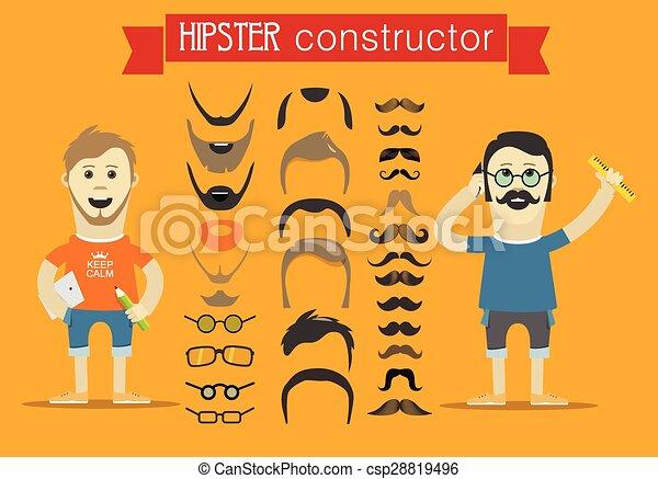 clip-art., éléments, accessoires, personne, vecteur, conception, hipster - csp28819496