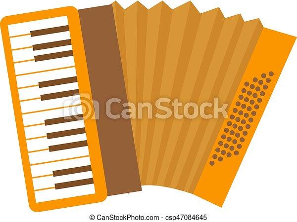 Clip Art Plat Accordéon Illustration Isolé Dessin Animé Instrument Vecteur Arrière Plan Blanc Musical Style Icône