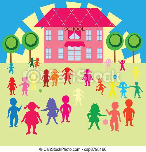 Clip-art with children and school - csp3798166