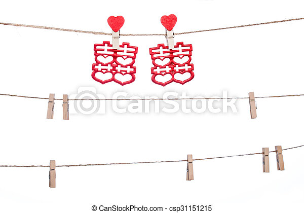 clip on a twine hanging chinese wedding auspicious word