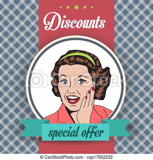 clipart, commerciale, illustrazione, retro, donna, felice - csp17652232