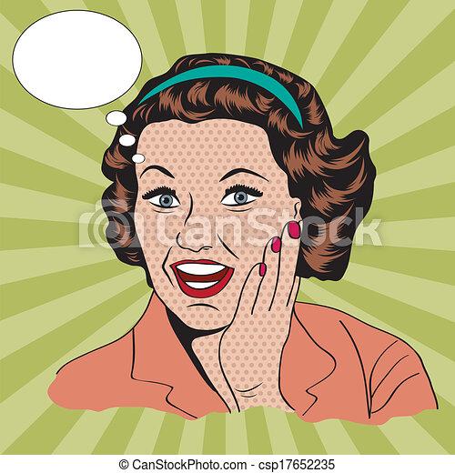 clipart, handlowy, ilustracja, retro, kobieta, szczęśliwy - csp17652235