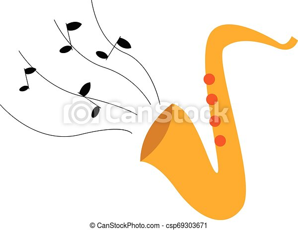 Clipart of the musical instrument, saxophone/Saxophone icon, vector or color illustration - csp69303671