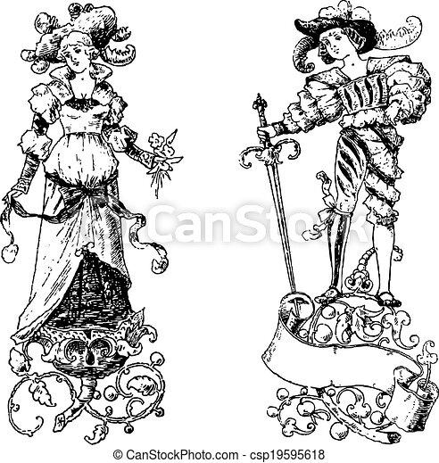 4e4ba5dc08 Clipart, vendimia, princesa, victoriano, vector, príncipe ...