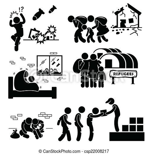 Refugiados evacuee de las piezas de guerra - csp22008217