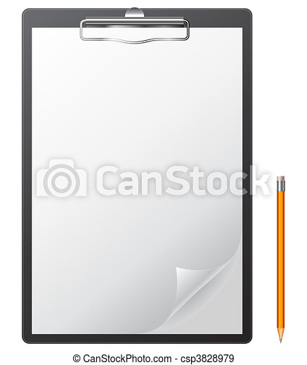 Clipboard and pencil. - csp3828979
