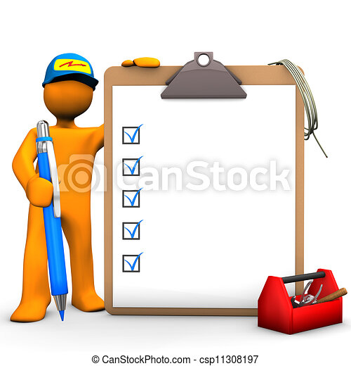 Clipboard Electrical Worker - csp11308197